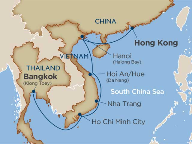 cruise hong kong to bangkok map