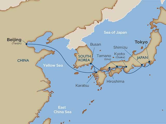 cruise tokyo to beijing map