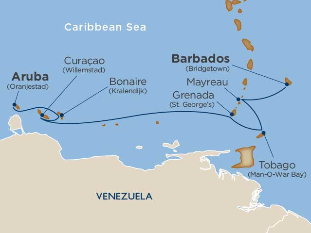 Caribbean Cruise Map ABC Islands
