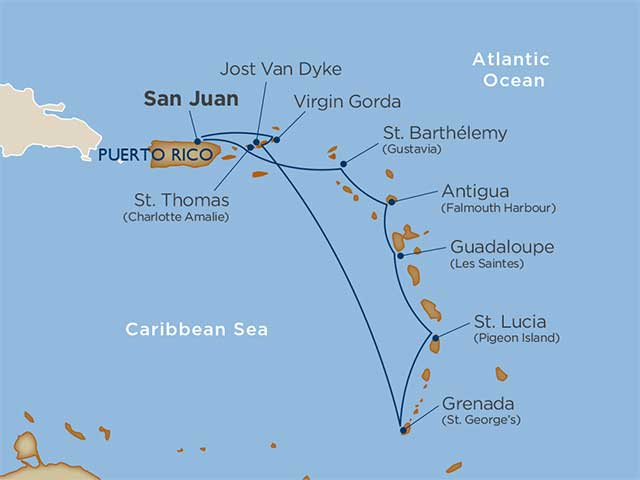 caribbean cruise map