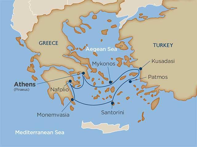 Greece Cruise Itinerary Map
