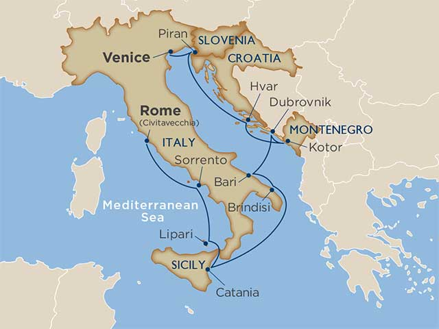 Map of Rome to Venice Cruise Voyage