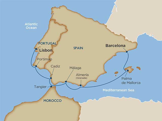 Map Of Spain Cadiz.Cruise Itinerary And Ports Spanish Serenade