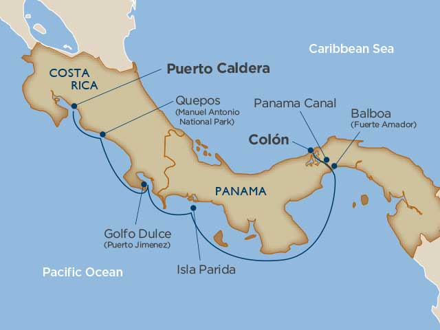 Costa Rica & Panama Canal Cruise Itinerary Map