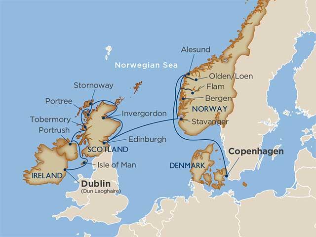 Map Of Ireland And Scotland.The Irish Cliffs Scottish Castles Norwegian Fjords Voyage On