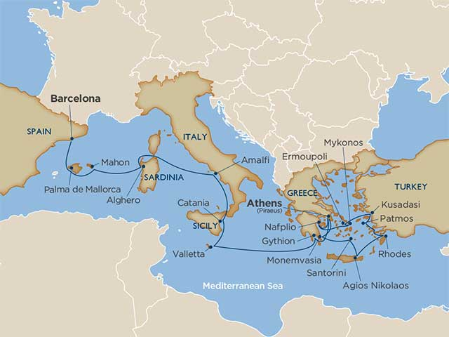 Map Of Italy Greece And Turkey.The Islands Of Greece Italy Voyage On Windstar Cruises
