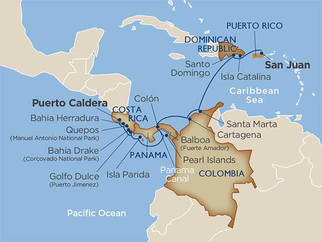 Latin america cruise map